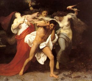 Orestes pursued by the furies. He can't keep it out.